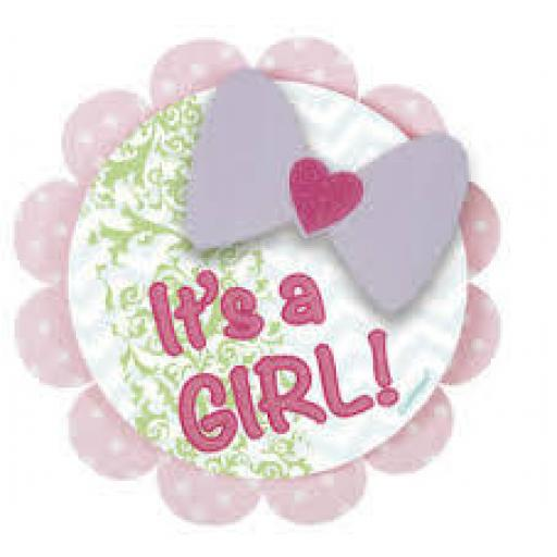 It is a Girl Baby Shower Badge