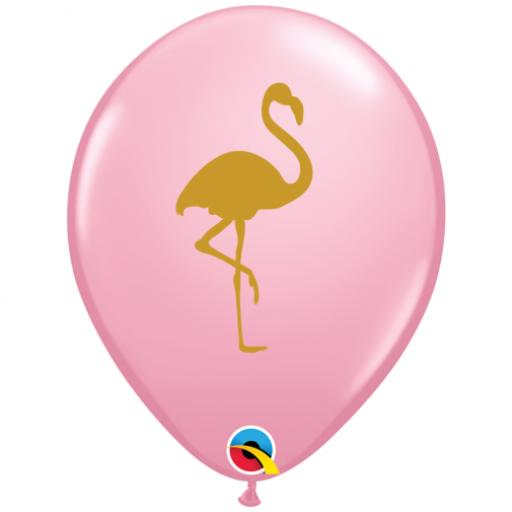 Pink 11 inch Latex Balloons with Gold Flamingo Print 25ct Helium Quality
