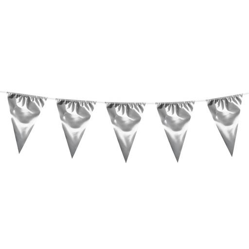 10m Plastic Giant Silver Bunting Garland