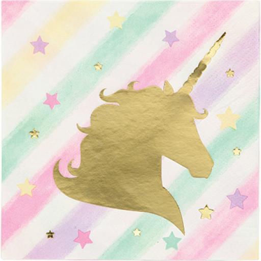 Unicorn Sparkle Beverage Napkins Foil Stamp 10inch 3ply 16pcs