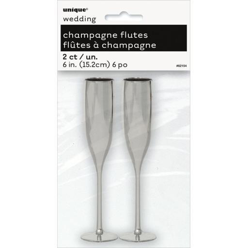 Plastic Silver Mini Champagne Flutes 2pcs