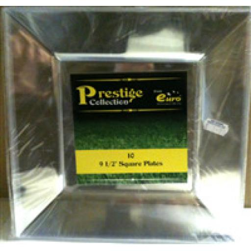 Prestige Euro Clear Square Plates 9.5in 10pcs