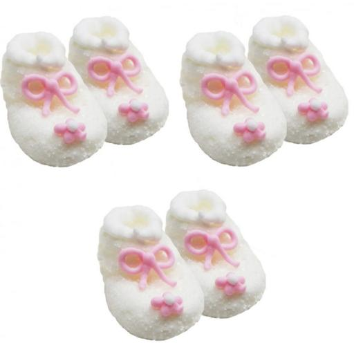 Baby Shower/Christening 6 Frosted Booties White & Pink