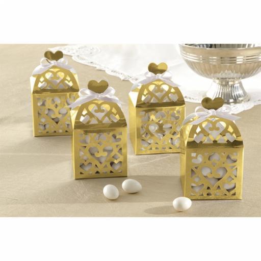 Gold Favor Lantern Boxes 50pcs