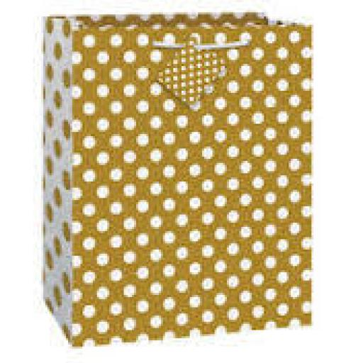 "Gold Polka Dot Gift Bag 13"" x 10.5"""
