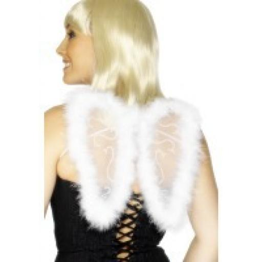 Mini Glitter Wings White Marabou Trim