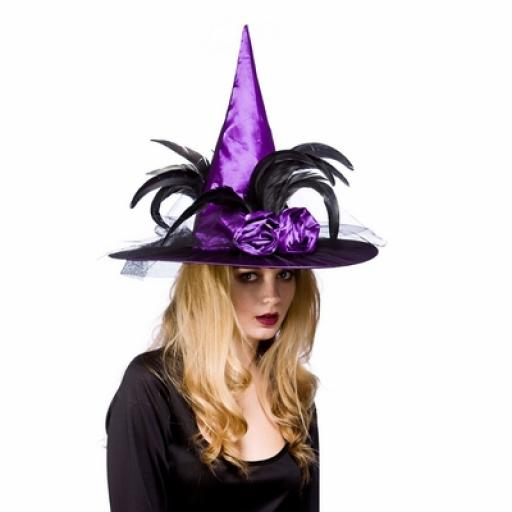 Deluxe Witches Hat with feathers Purple