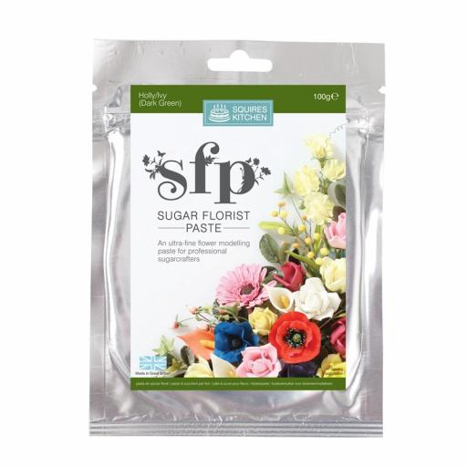 Squires Sugar Florist Paste (SFP) - Holly/Ivy (Dark Green) - 100g