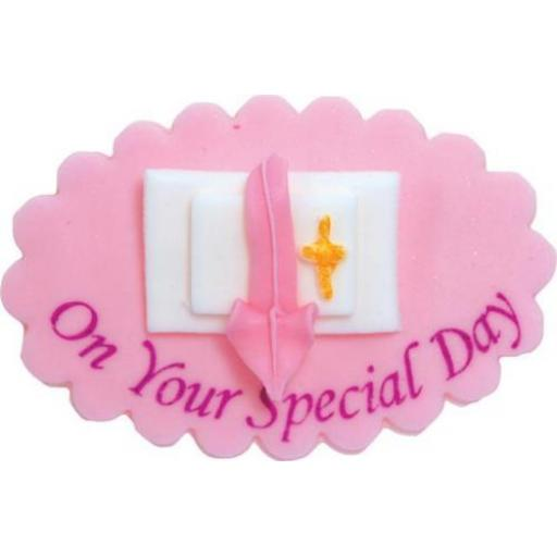 On Your Special day Pink Religious Sugarcraft Cake Plaque Topper