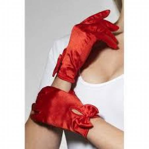 Gloves Short Red with Bow