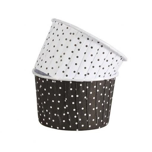 Polka Dot Black 24 Coloured Baking Cups