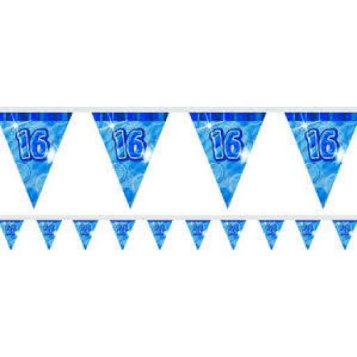 Flag Banner Blue Glitz 16th Birthday / Anniversary
