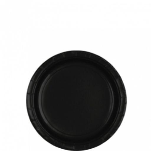 8 Jet Black Paper Plates 8ct 7 inch