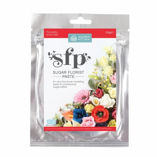 Squires Sugar Florist Paste (SFP) - Poinsettia (Xmas Red) - 100g