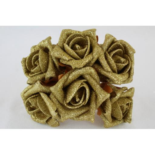 6 Foam Glitter Roses 5.5 cm