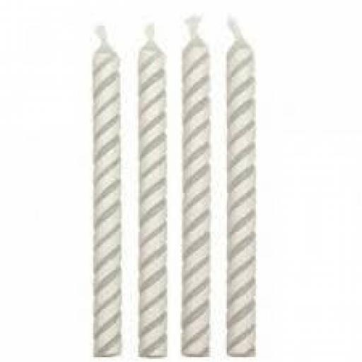 PME 24 White Medium Striped Candles
