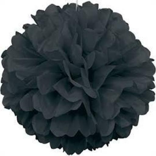 Puff Ball Black Tissue Decoration 16inch