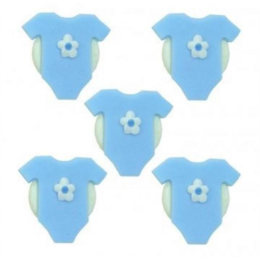 5 Blue Babygrow Icing Sugar Decoration