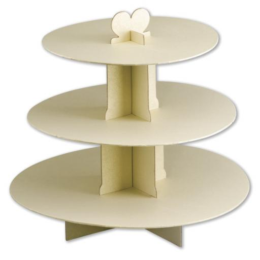 Three Tier Card Cake Stand Ivory