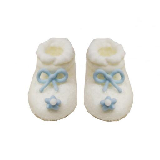 Baby Shower / Christening 6 Frosted Booties White & Blue