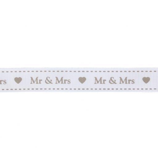 Ribbon Mr & Mrs White & Grey 13mm x 1m