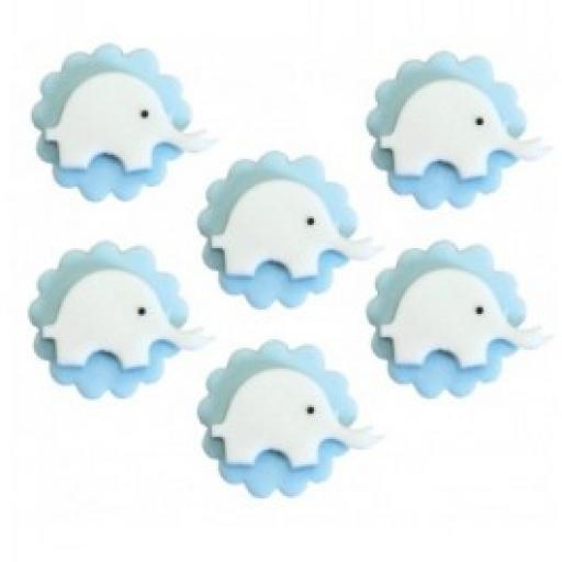 Baby Shower 6 Elephant Sugarcraft Toppers Blue