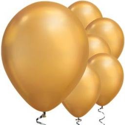 "Gold Chrome Balloons - 11"" Latex 100pcs Qualitex"