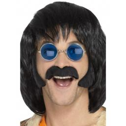 Hippie Disguise Set, Black, with Porkchop Sideburns & Moustache