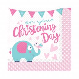 On your Christening Day Pink Luncheon Napkins 33cm 16pcs 2ply