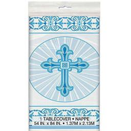 Radiant Cross Blue Religious Plastic Tablecover 54x84 inch - Communion