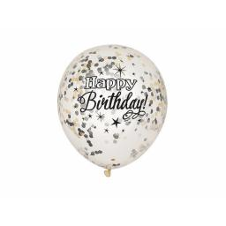 "Happy Birthday Clear 12"" Balloons with Biodegredable Gold, Silver & Black Confetti pack of 6"