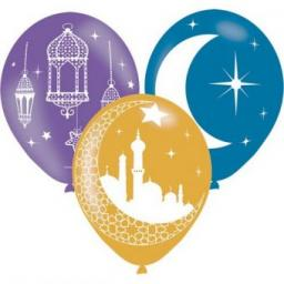 "Eid Celebration Latex Balloons 11""/27.5cm Helium Quality 6pcs"