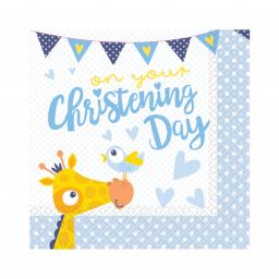 On your Christening Day Blue Luncheon Napkins 33cm 16pcs 2ply