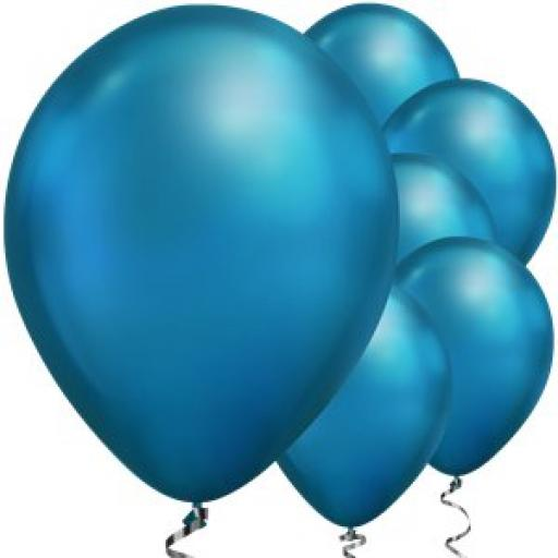 "Blue Chrome Balloons - 11"" Latex Qualitex 25 pcs"