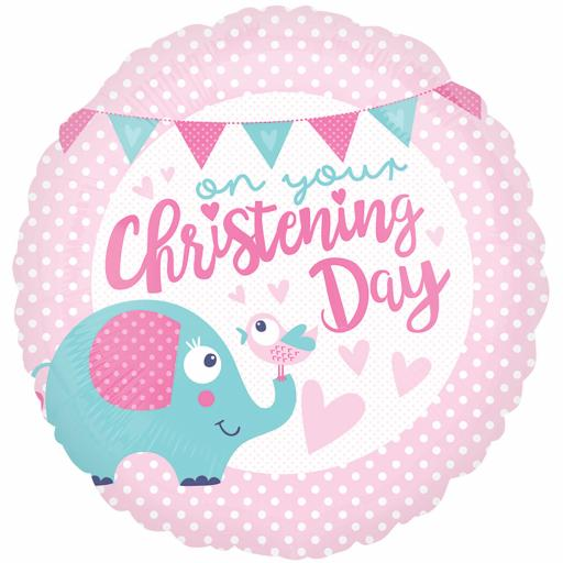 Christening Day Pink Standard 18 inch Foil Balloon Helium Quality