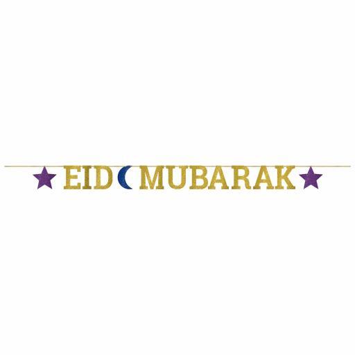Eid Mubarak Glitter Letter Banner 3.65m