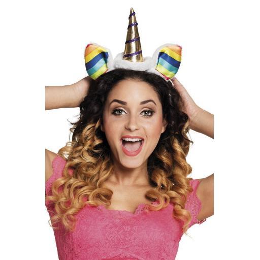 Rainbow Unicorn Headband With Ears