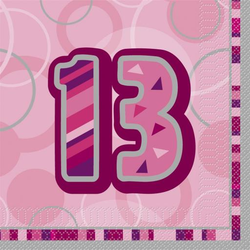 13th Birthday Pink Glitz Luncheon Napkins 13x13 inch 16ct 3ply