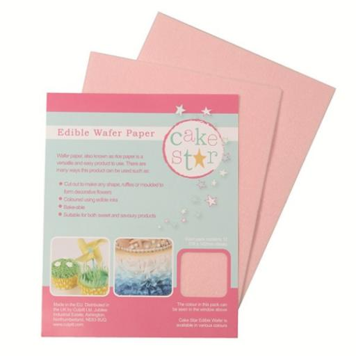 Edible Wafer Rice Paper Cake Star - Pink