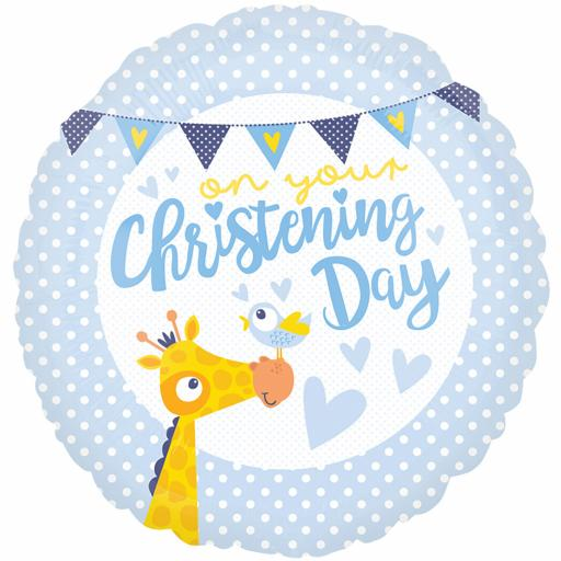 Christening Day Blue Standard 18 inch Foil Balloon Helium quality