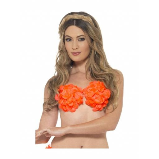 Hawaiian Flowered Bra, Neon Orange