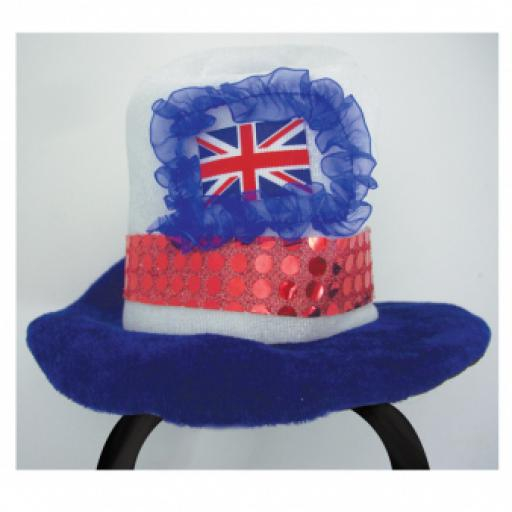 Great Britain Union Jack Adult Mini Fabric Top Hat on Headband - One size fits most