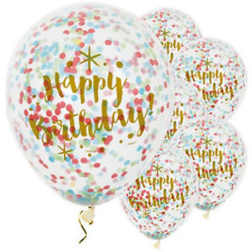 "Happy Birthday Clear 12"" Balloons with Biodegradable Multi Colour Confetti pack of 6"