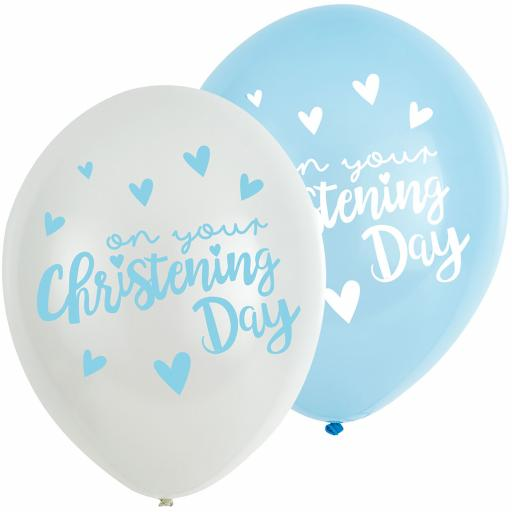 "Christening Blue Latex Balloons 11""/27.5cm 6pcs Helium Quality"