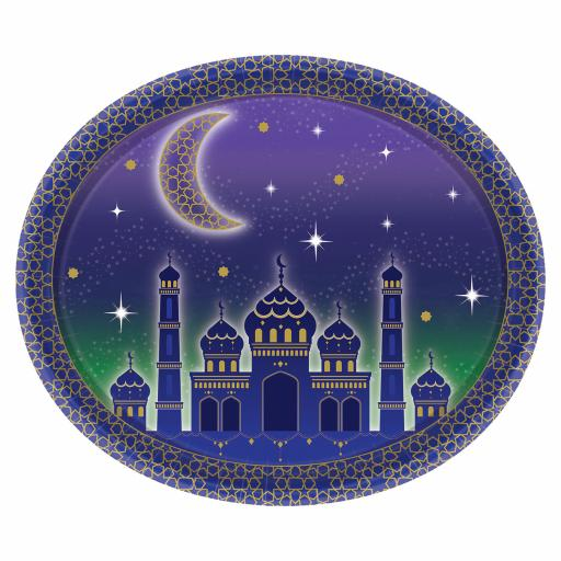 Eid Celebration Oval Paper Platters 30x25cm 12x10inch 8pcs