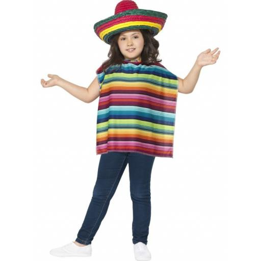 Mexican Instant Kit with Poncho & Sombrero Children Size
