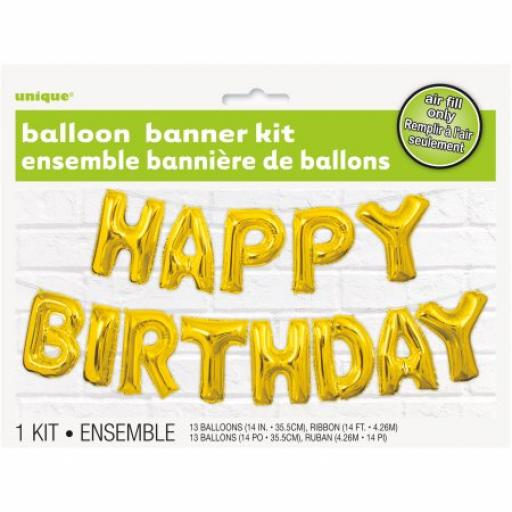 Air Fill Happy Birthday Gold Balloon Banner Kit