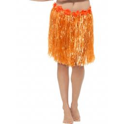 Hawaiian Hula Skirt with Flowers, Neon Orange, with Velcro Fastening & Adjustable Waist Band