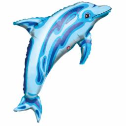 "Ocean Blue Dolphin SuperShape Foil Balloon 37""/84cm w x 22""/56cm"