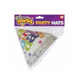 Happy Birthday Paper Party Cone Hats Pack of 10